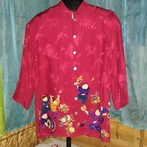 Chico's Chinese print blouse 100% silk size 0